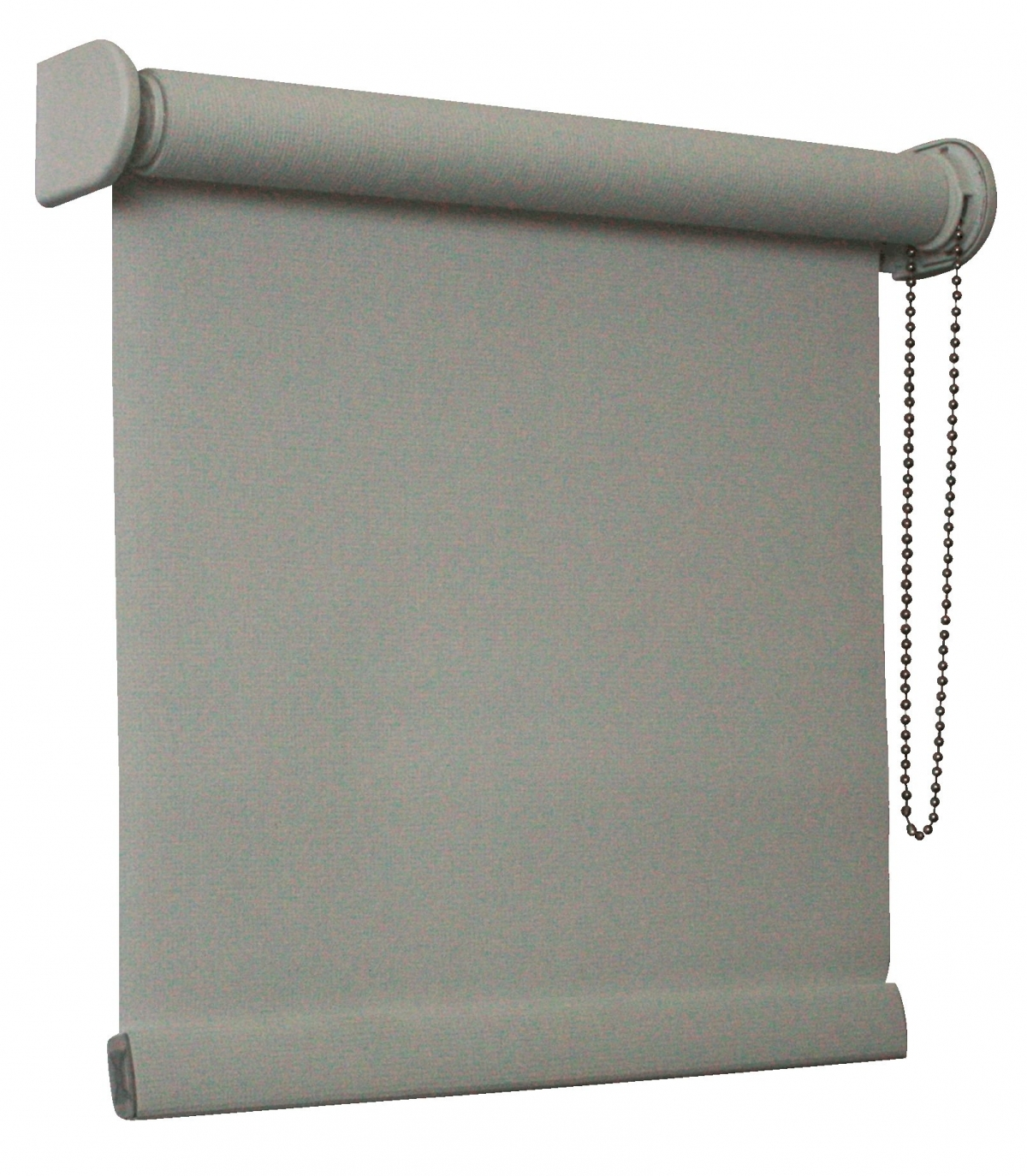 Roller Blind In Dim Out Fabric Colour Beige With Metail Chain Control Farbic Wrapped Bottom Bar Metal Brackets And Barrel Within Roller Fabric Blinds (Image 11 of 15)
