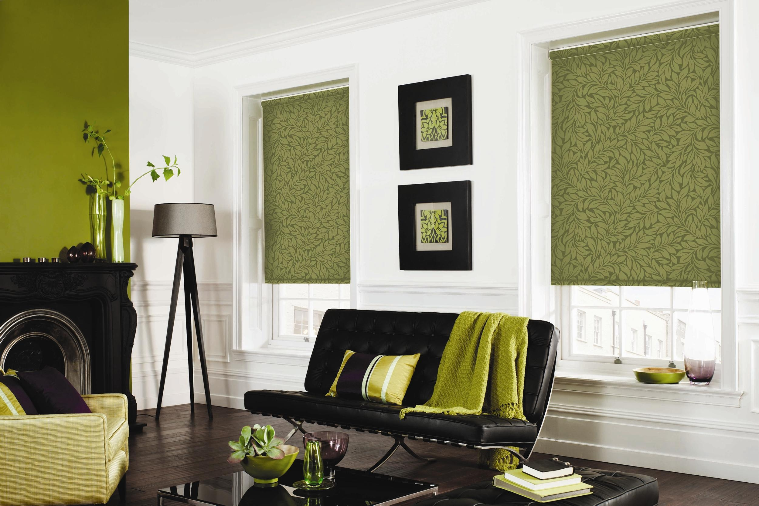 Roller Blinds Fabric Opaque Gallery Throughout Green Roman Blinds (Image 14 of 15)