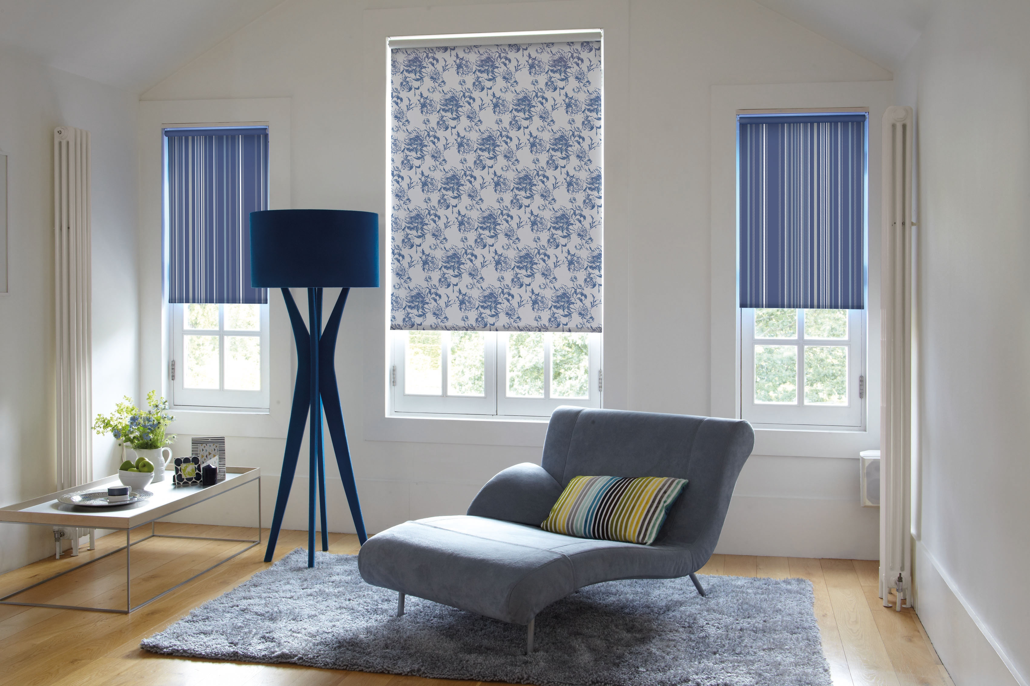 Roller Blinds Leicester D C Blinds With Regard To Blue And White Striped Roman Blinds (Image 12 of 15)