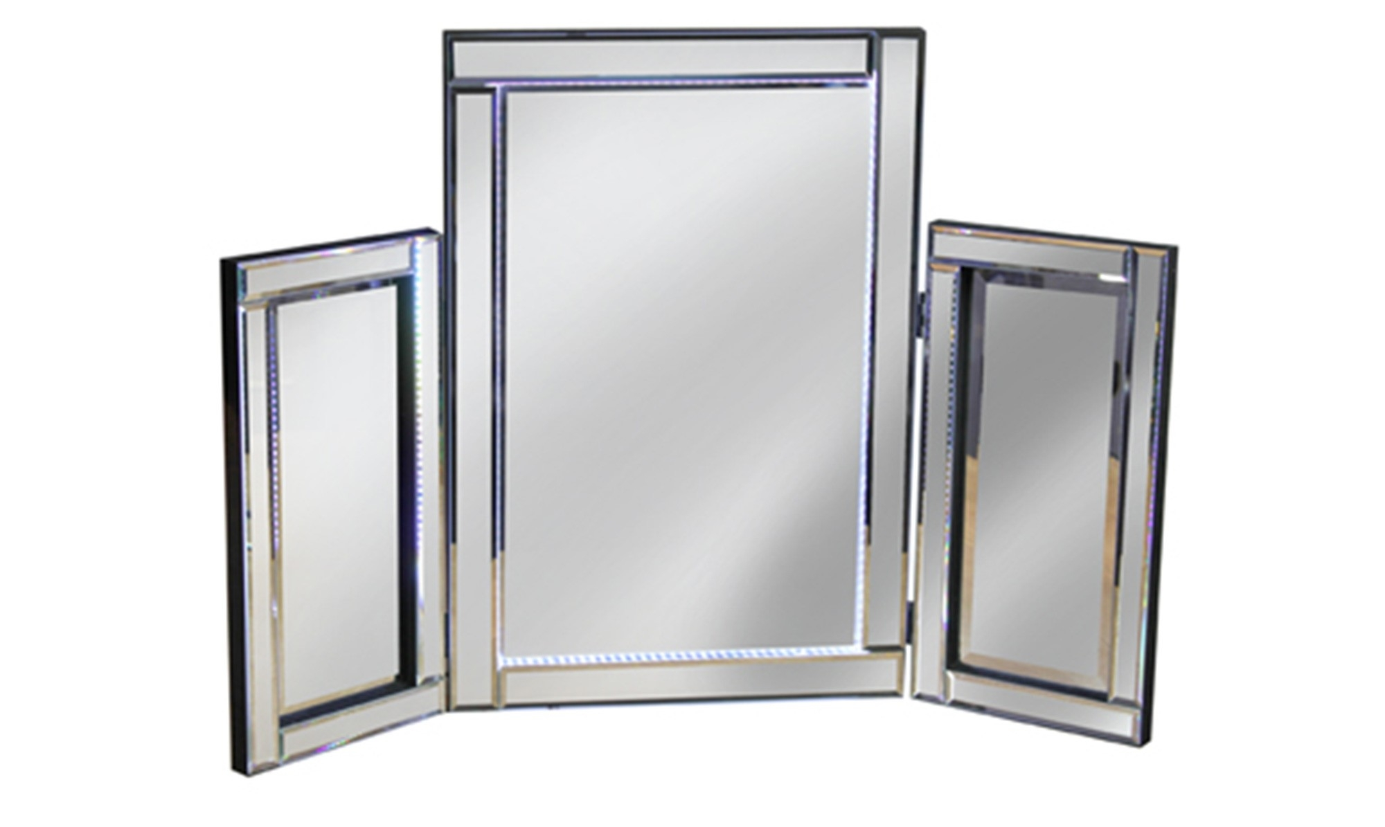 Roma Led Dressing Table Mirror Silver Cool White All Mirrors Pertaining To Silver Dressing Table Mirror (Image 12 of 15)