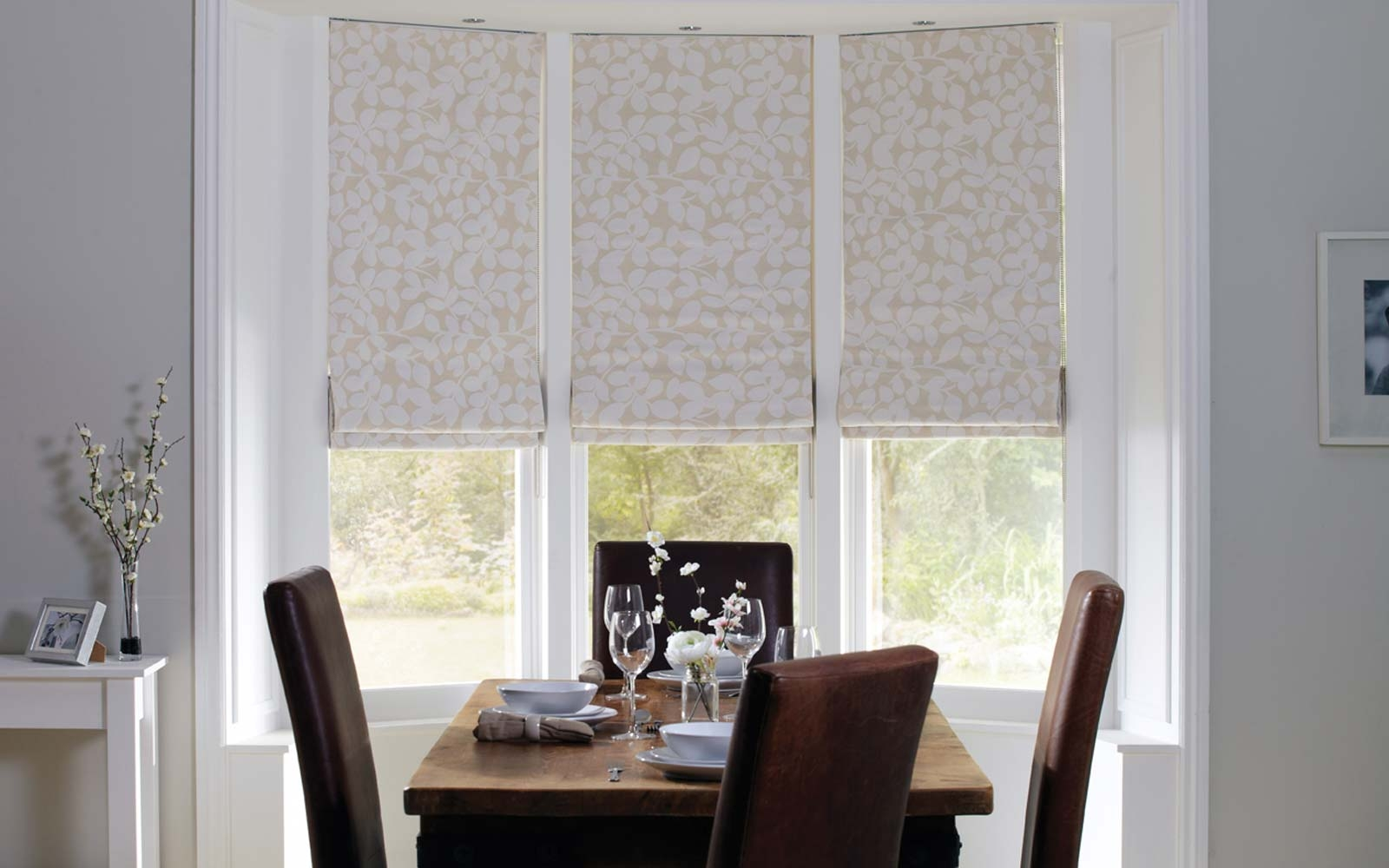Roman Blinds Surrey Blinds Shutters With Regard To Bay Window Roller Blinds (Image 11 of 15)