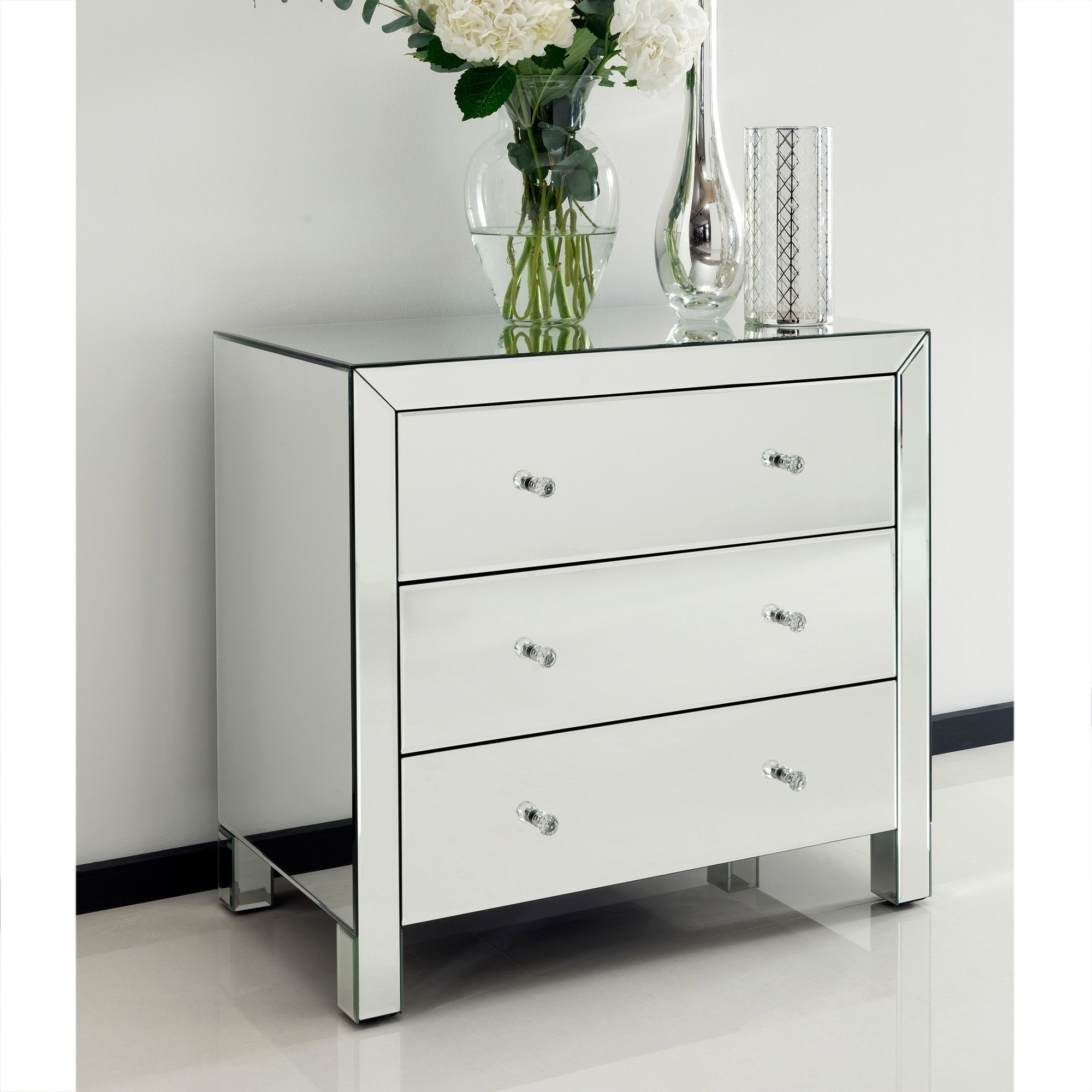 Romano Crystal Mirrored Chest 3 Drawer Venetian Mirrored Furniture With Venetian Mirrored Chest Of Drawers (Image 7 of 15)