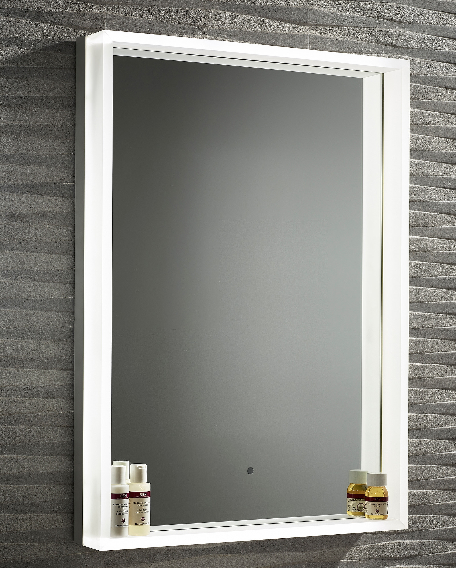 Roper Rhodes Aura Illuminated Framed Mirror 500 X 700mm Chrome Intended For Chrome Framed Mirror (Image 12 of 15)
