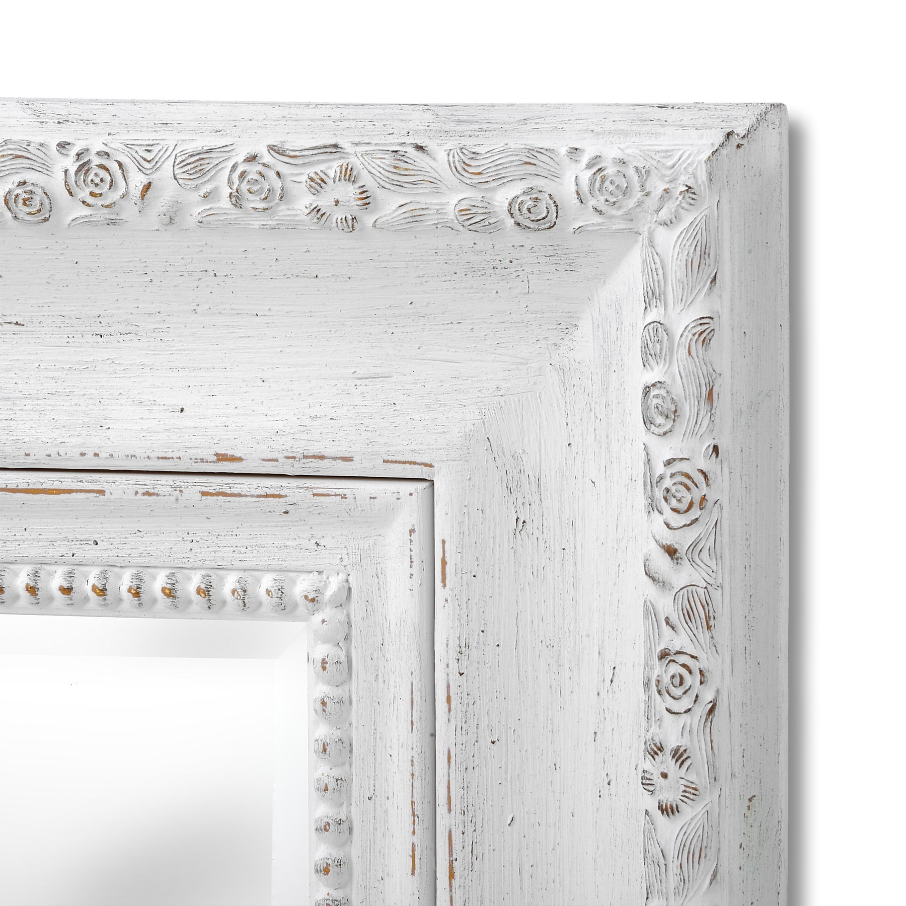 Rose Wall Mirror Antique White 99×129 Bedroom Furniture Direct Regarding Large White Antique Mirror (Image 11 of 15)