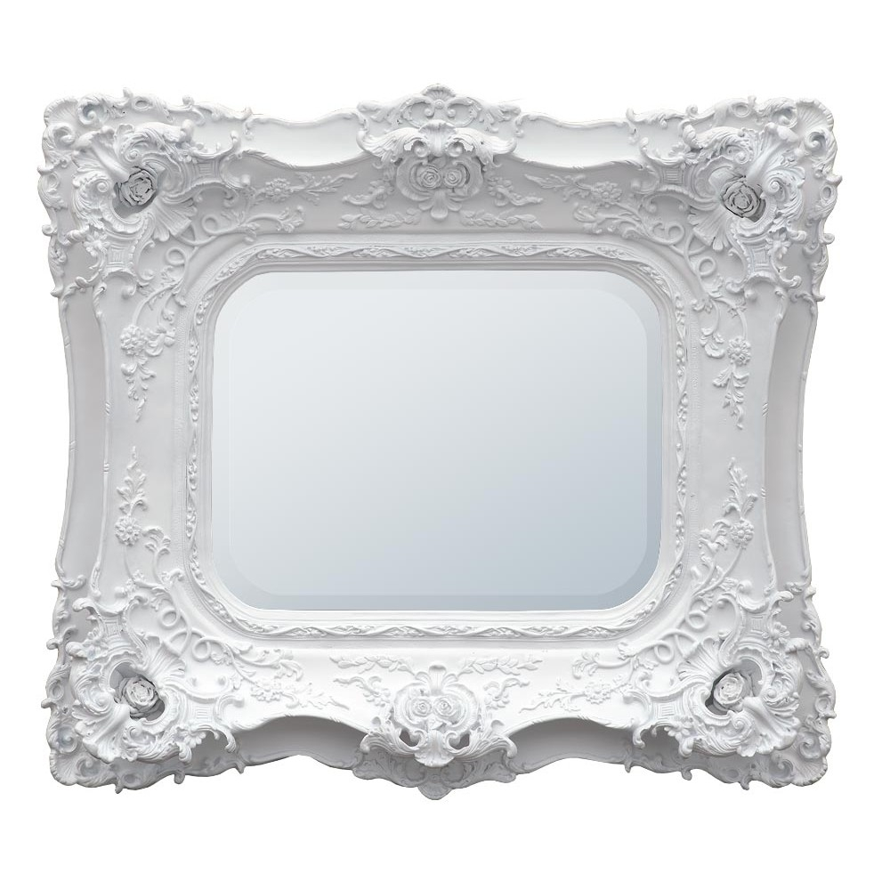 Rosetti Baroque Antique Chalk White Double Framed Decorative Wall For Baroque White Mirror (Image 9 of 15)