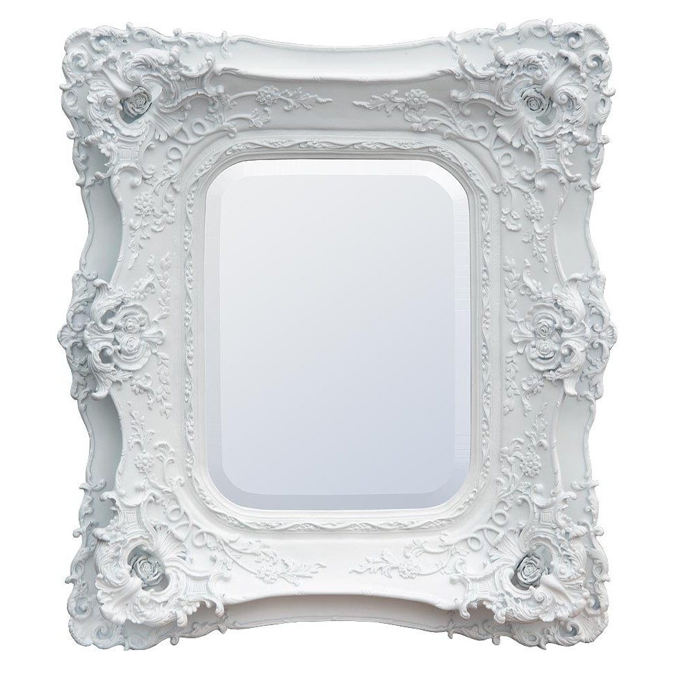 Rosetti Baroque Antique Chalk White Double Framed Decorative Wall Regarding Baroque White Mirror (Image 10 of 15)