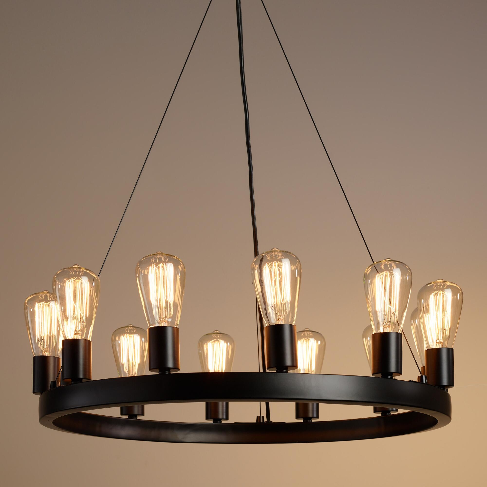 Round 12 Light Edison Bulb Chandelier Edison Bulbs Rustic And Regarding Vintage Style Chandeliers (Image 13 of 15)
