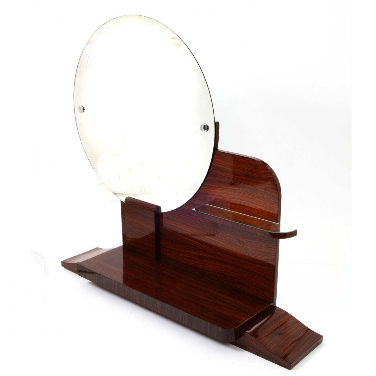Round Art Deco Mirror With Shelves For Sale At Pamono Within Round Art Deco Mirror (Image 12 of 15)