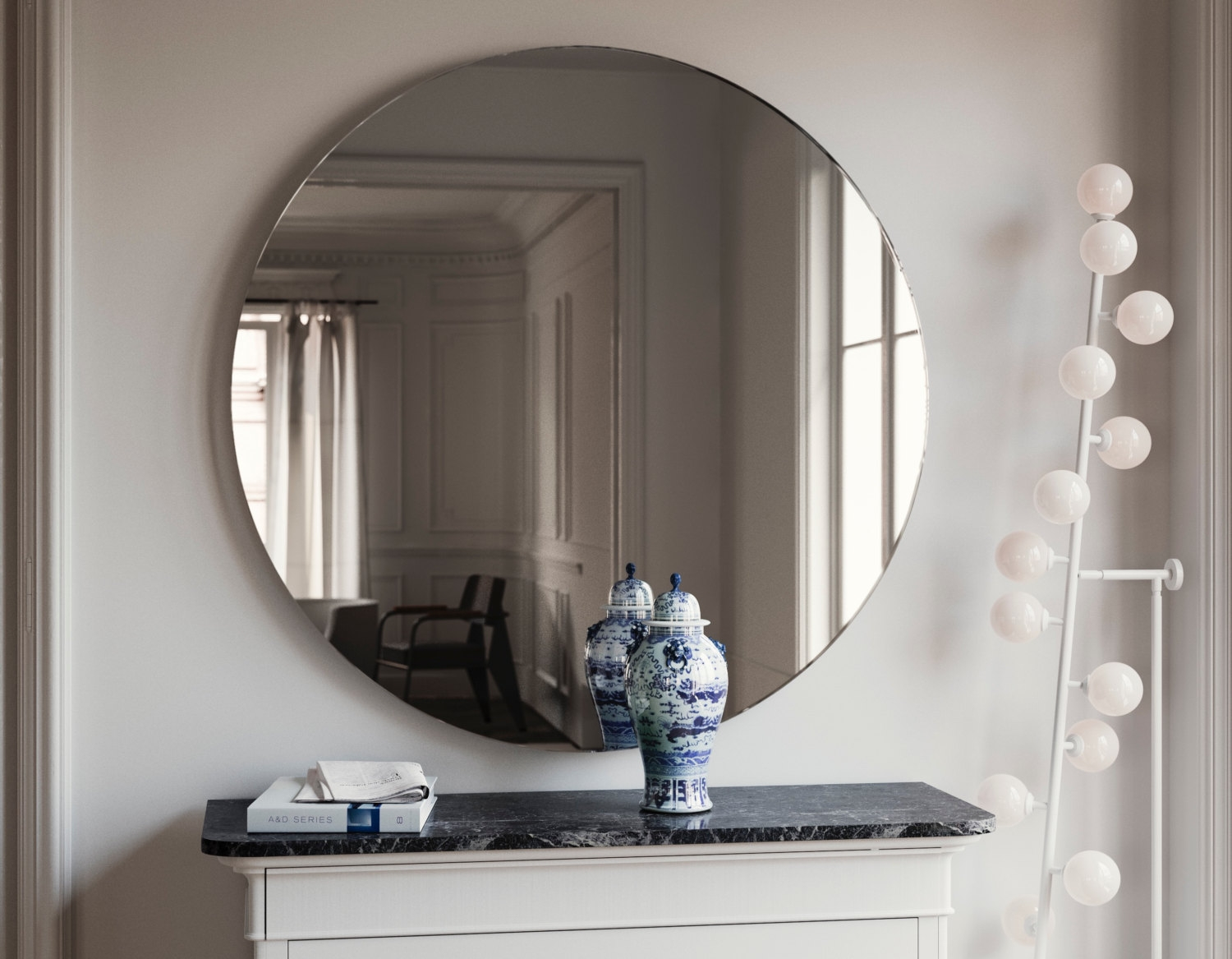 Round Art Deco Style Mirror Symmetrical 1920s And 1930s With Regard To Round Art Deco Mirror (Image 13 of 15)