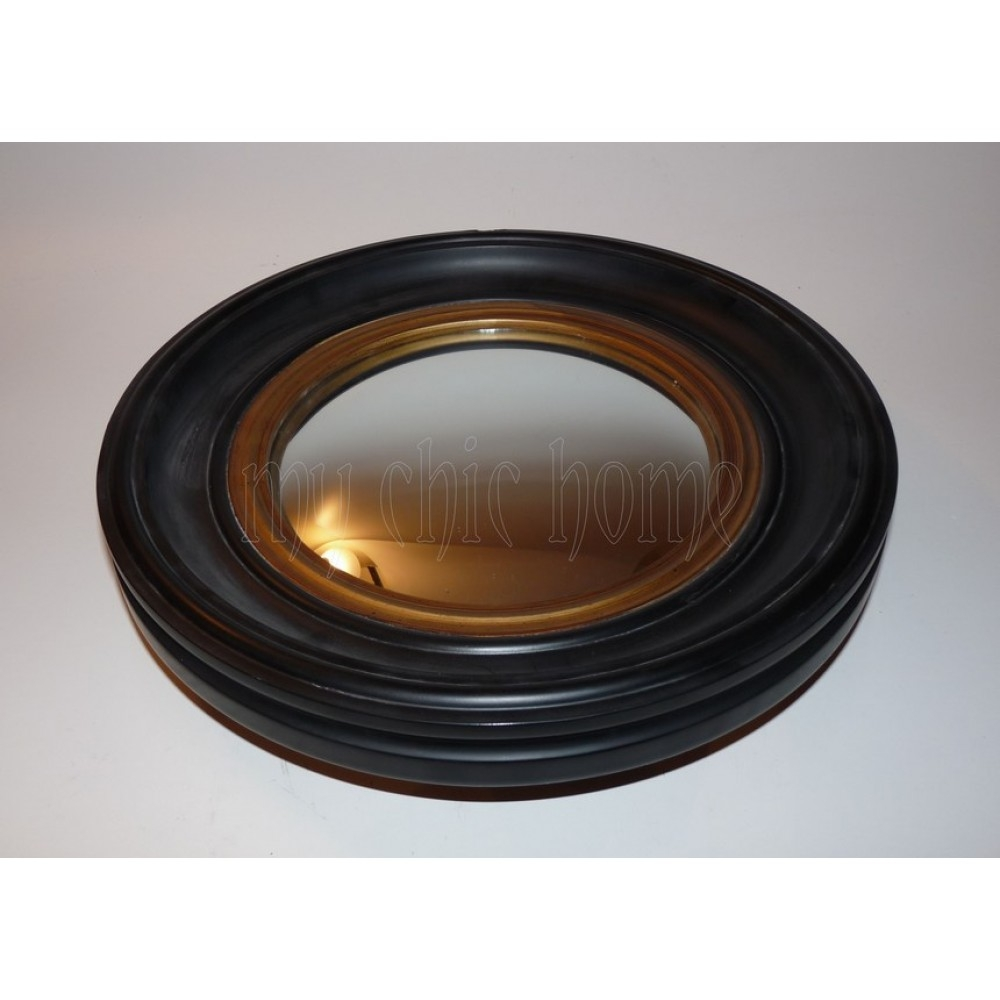 Round Black And Gold Convex Mirror 40 Cm 1930s Reproduction Throughout Small Convex Mirrors (Image 9 of 15)