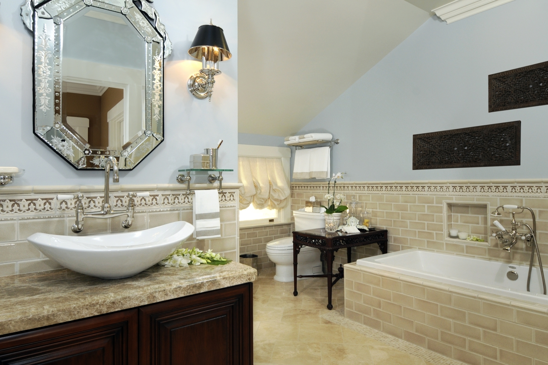 Round Black Bathroom Mirror Bathroom Grey White Bathroom With Venetian Bathroom Mirror (View 6 of 15)