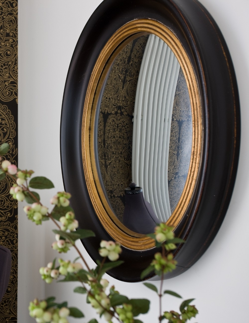 Round Decorative Fish Eye Convex Mirror Rose Grey For Curved Mirrors For Sale (Image 11 of 15)