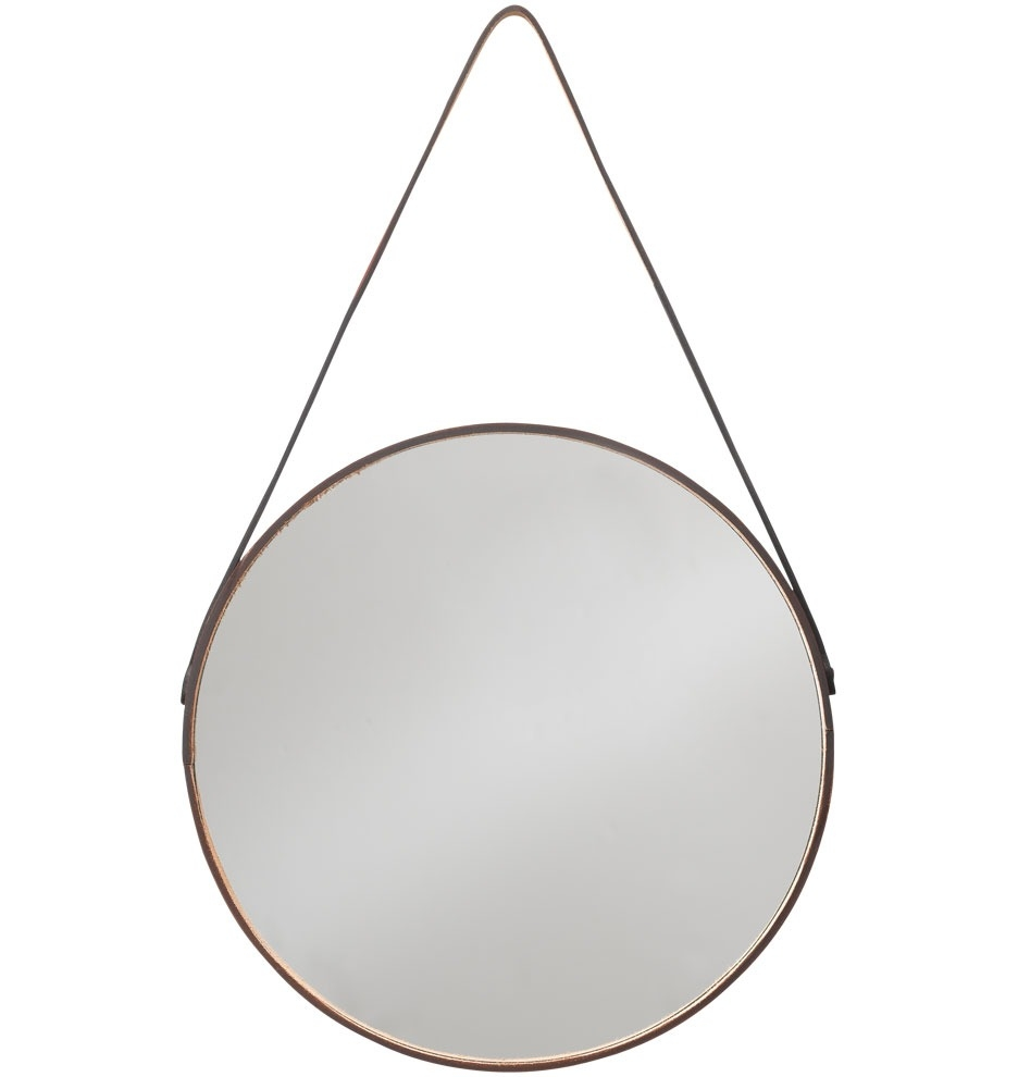 Round Leather Wrapped Mirror Rejuvenation My Dream Vanity Within Round Leather Mirror (Image 8 of 15)