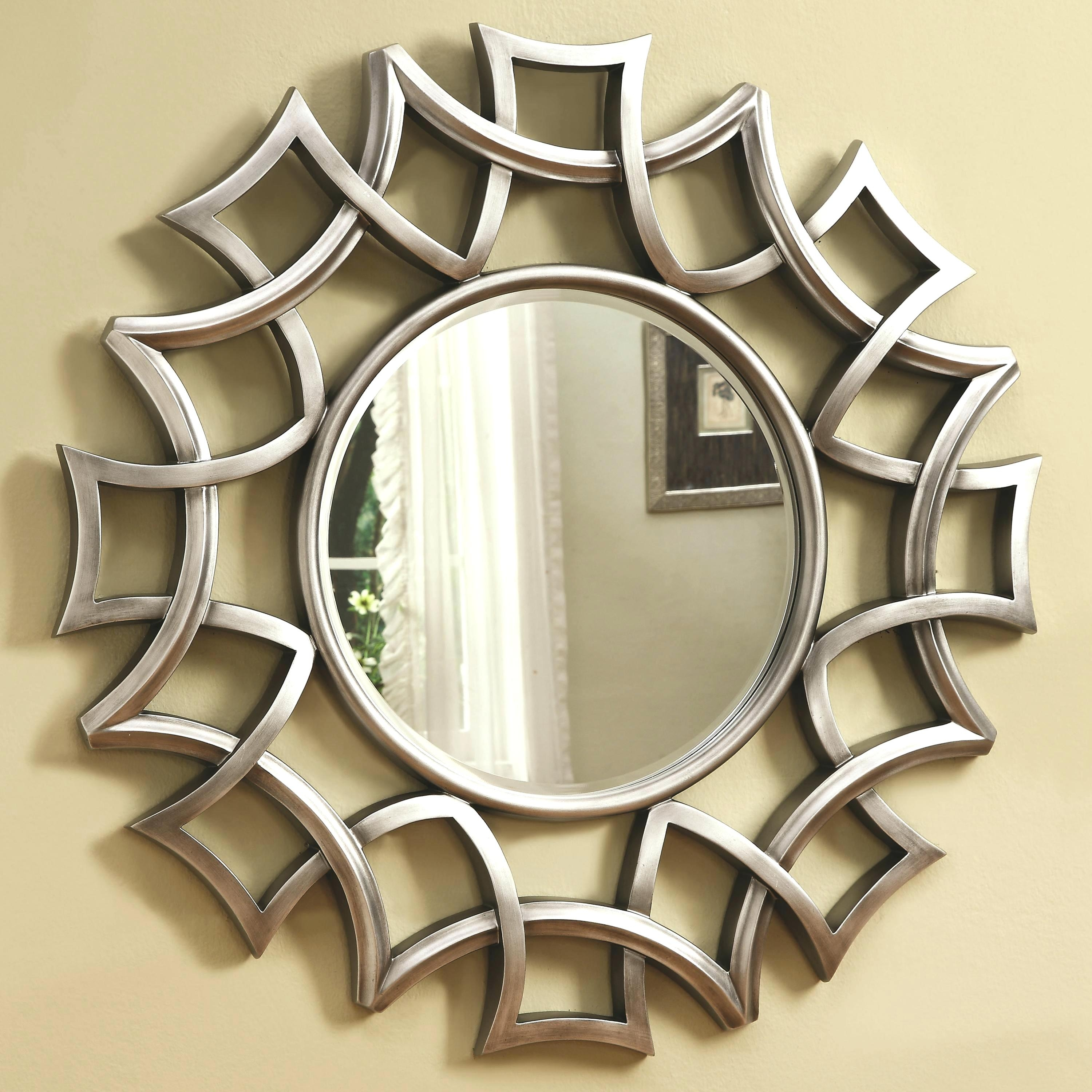 Round Mirror Large Contemporary Wall Mirrors Decorative Modern Bar Pertaining To Designer Mirrors For Walls (Image 13 of 15)