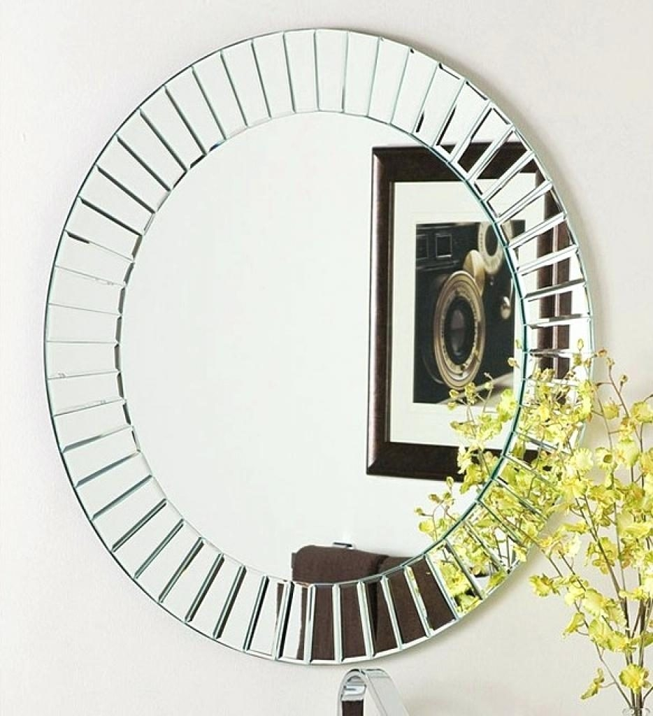Round Mirror Large Designer Wall Mirrors Glow Modern Frameless For Large Contemporary Mirrors (View 11 of 15)