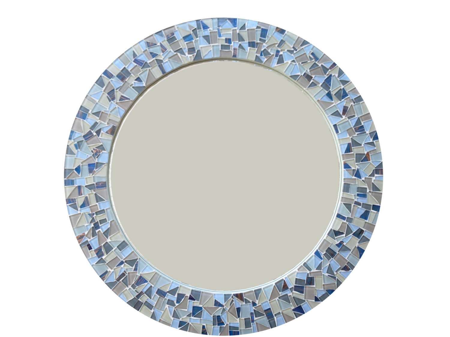 Round Mirror Mosaic Wall Mirror Blue Gray And Tan Cottage Within Blue Round Mirror (View 6 of 15)