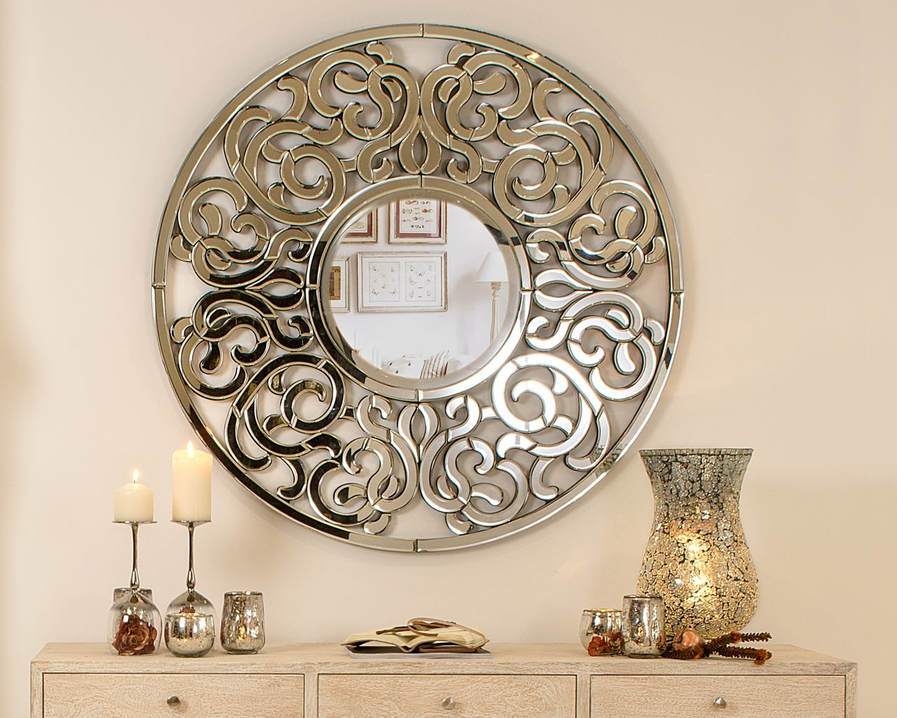 Round Mirror Wall Art Inarace Inside Ornate Round Mirror (View 9 of 15)