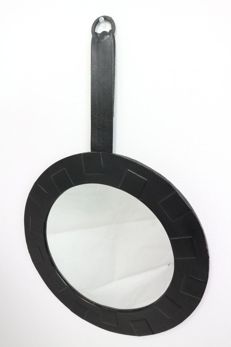 Round Mirror With Leather Frame 1950s For Sale At Pamono Regarding Leather Round Mirror (Image 11 of 15)
