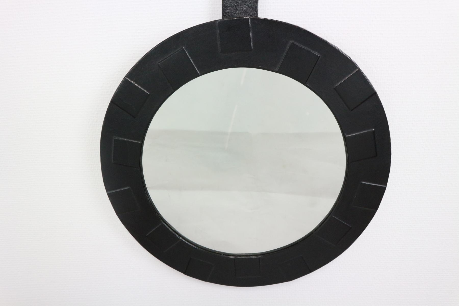 Round Mirror With Leather Frame 1950s For Sale At Pamono Throughout Black Leather Framed Mirror (Image 13 of 15)