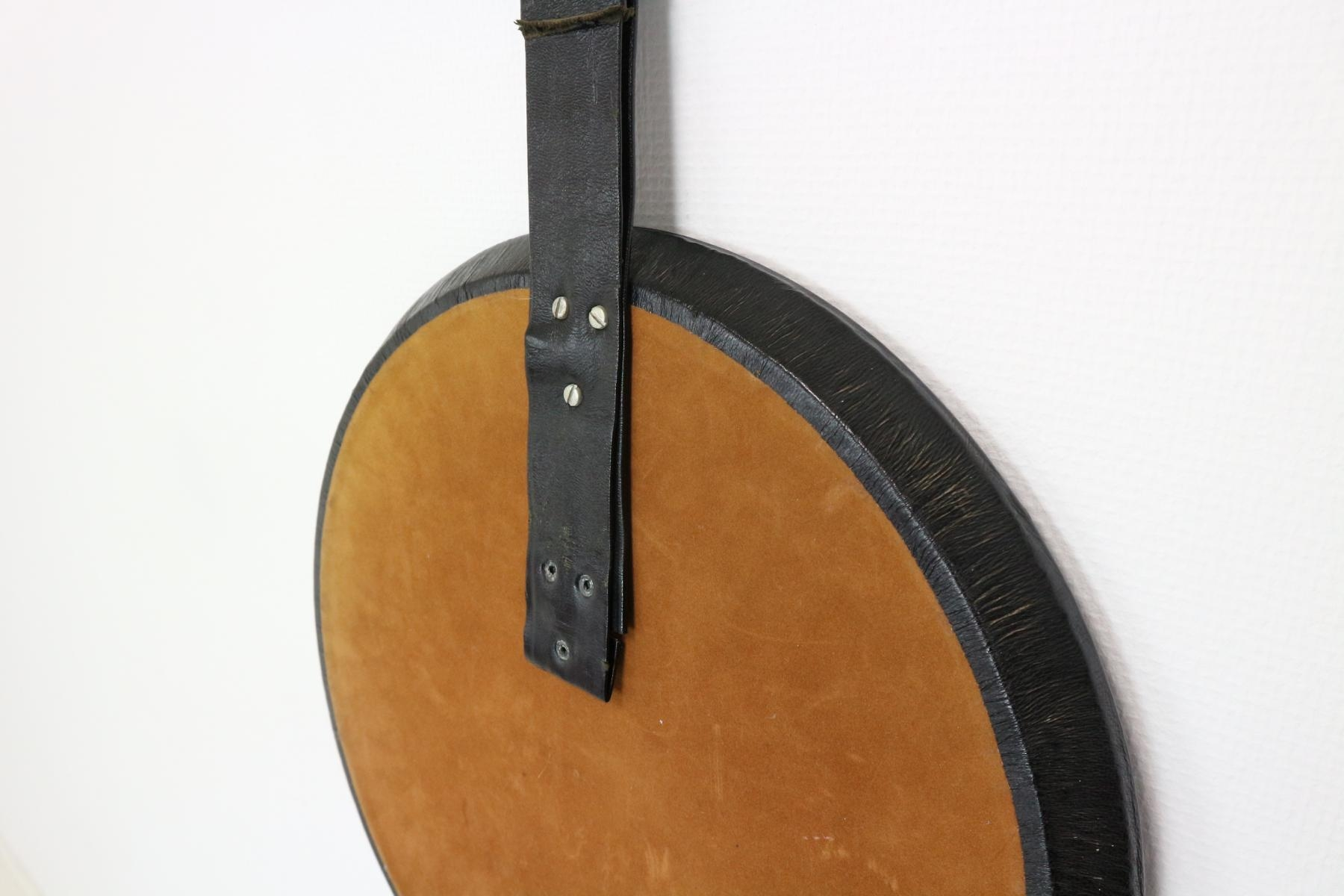 Round Mirror With Leather Frame 1950s For Sale At Pamono Throughout Round Leather Mirror (Image 9 of 15)