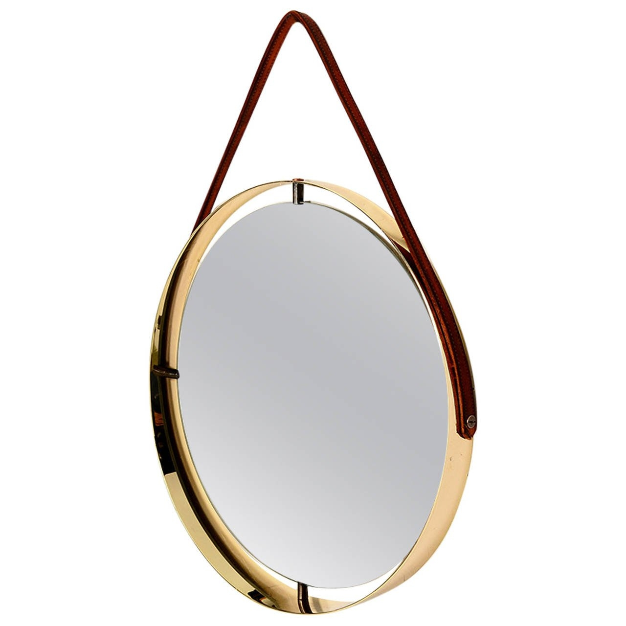 Round Mirror With Leather Strap For Sale At 1stdibs Within Leather Round Mirror (Image 12 of 15)