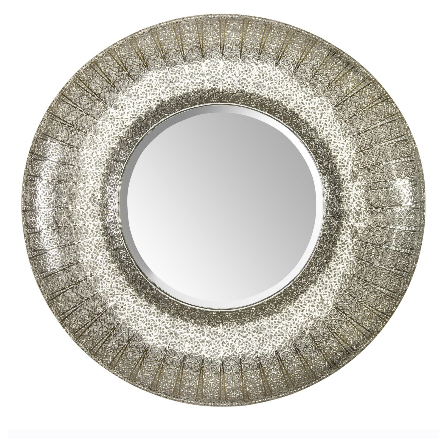 Round Moroccan Mirror The Round One In Silver 5499 Actual Intended For Large Round Metal Mirror (View 3 of 15)