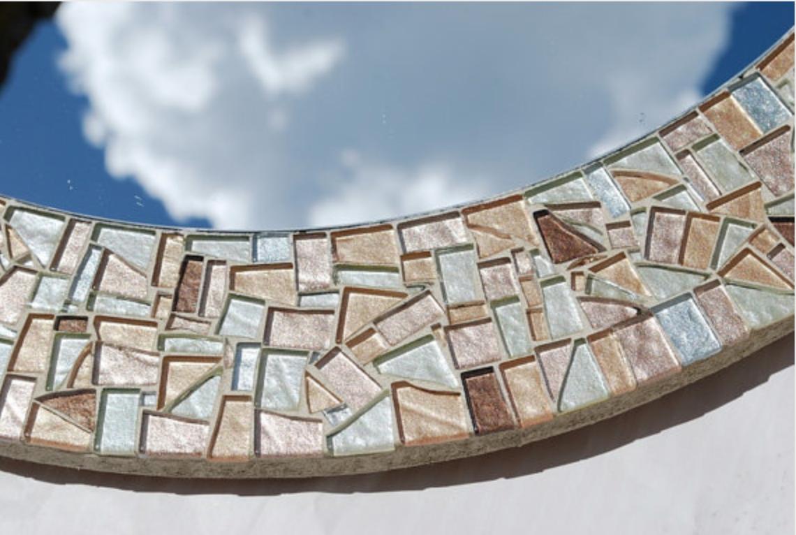 Round Mosaic Mirror Gold Silver Bronze For Bronze Mosaic Mirror (Image 15 of 15)