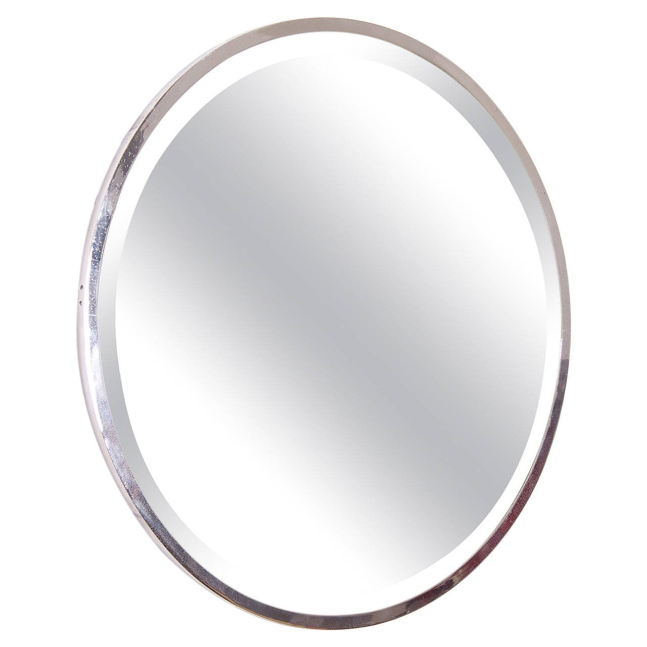Round Nickel Plated French Art Deco Wall Mirror For Sale At 1stdibs With French Oval Mirror (Image 14 of 15)