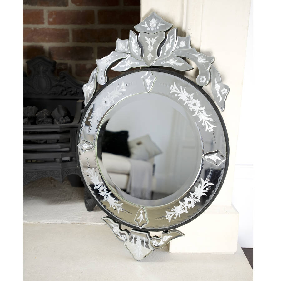 Round Venetian Etched Mirror The Orchard Notonthehighstreet Inside Round Venetian Mirror (Image 8 of 15)