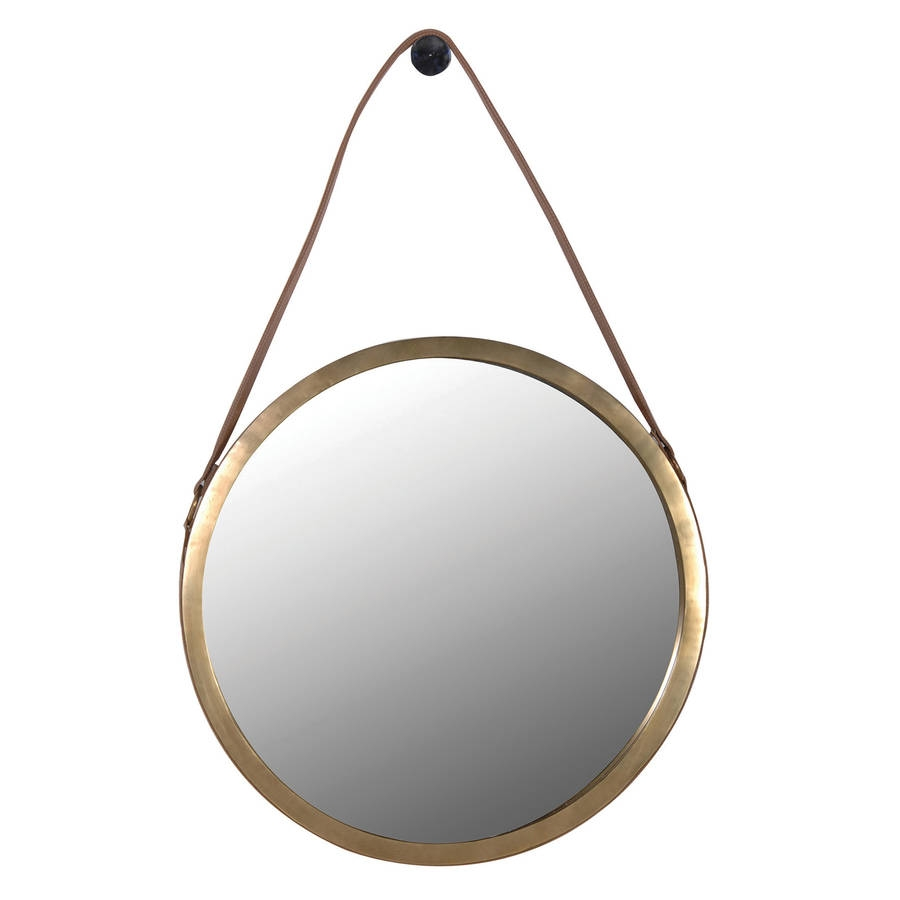 Round Wall Mirror With Leather Strap Out There Interiors Throughout Round Leather Mirror (Image 11 of 15)
