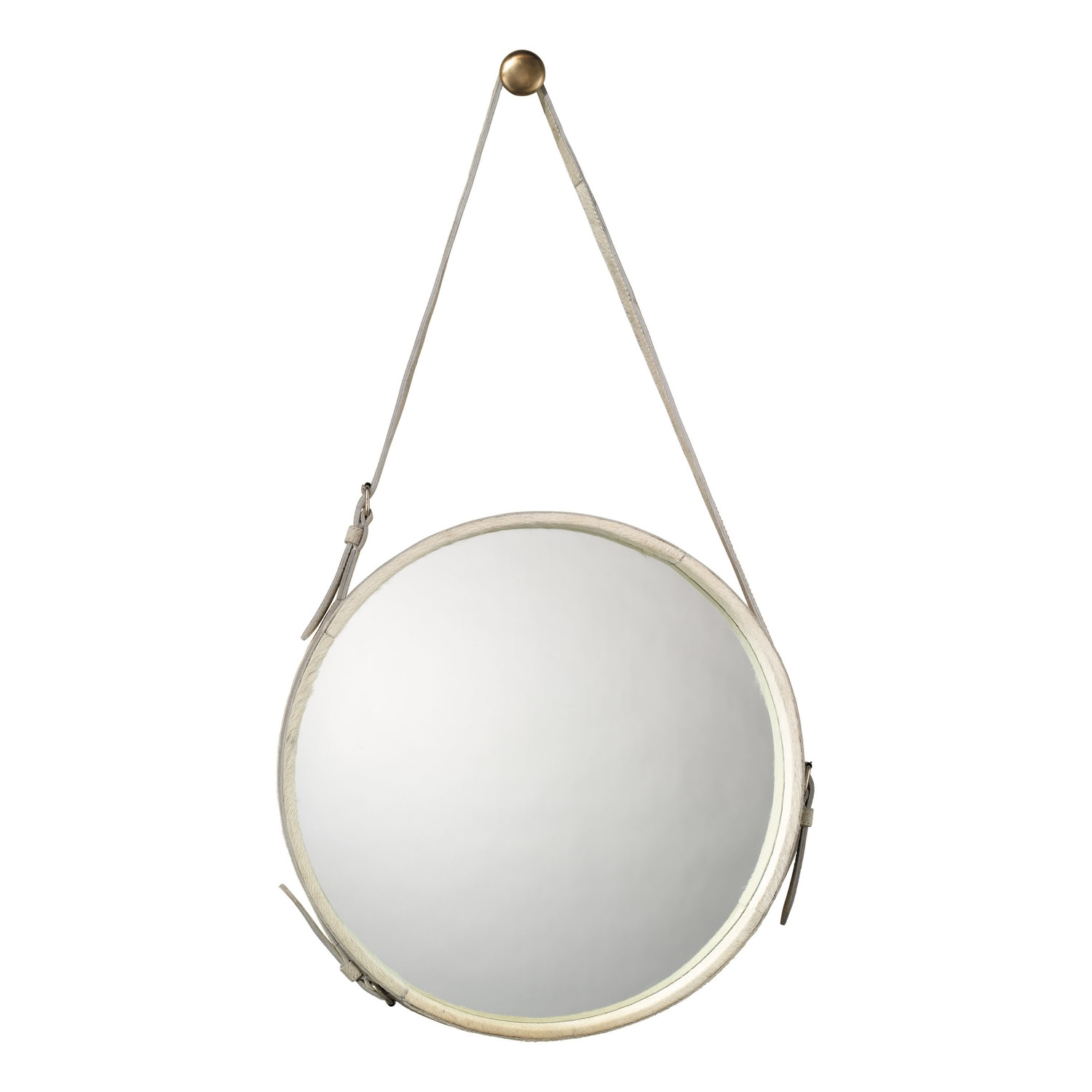 Round White Hide Mirror With Strap Includes Brass Hanging Knob For Round Leather Mirror (Image 12 of 15)