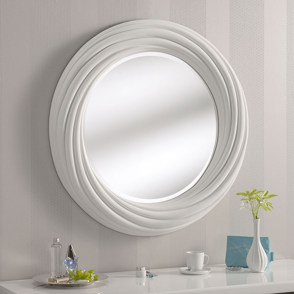 Round White Twist Madrid Mirror 87 X 87cm Exclusive Mirrors In White Round Mirror (Image 11 of 15)