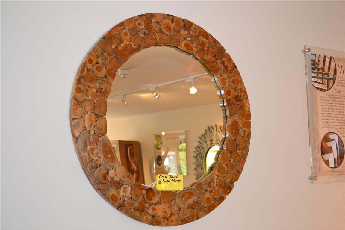 Round Wooden Mirror Bross Trunk Branch Mirror Inside Large Round Wooden Mirror (Image 11 of 15)