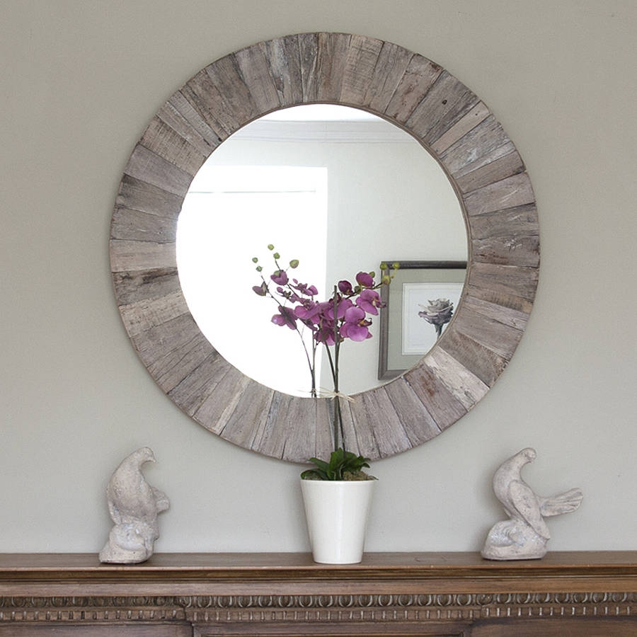Round Wooden Mirror Round Decorative Mirror And Decorative Mirrors With Regard To Large Round Wooden Mirror (Image 12 of 15)
