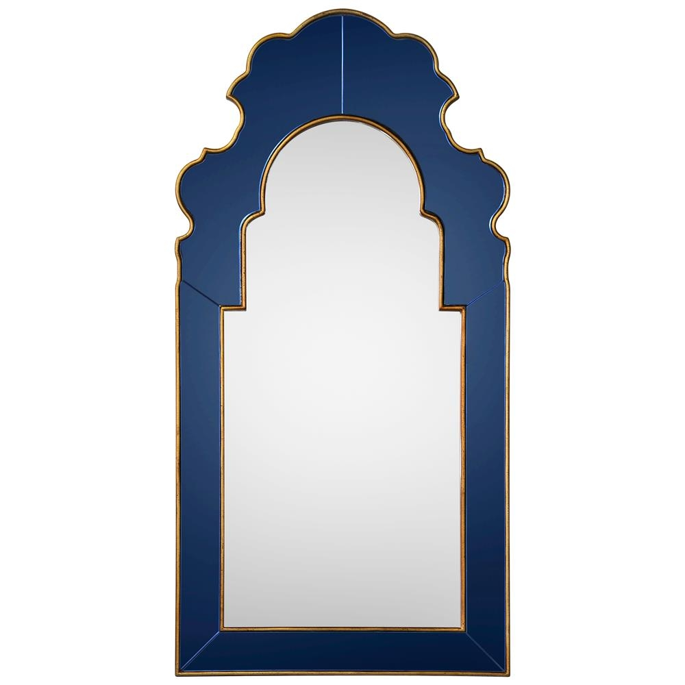 Roxy Hollywood Regency Blue Glass Frame Gold Trim Arch Mirror Intended For Mirror With Blue Frame (Image 11 of 15)
