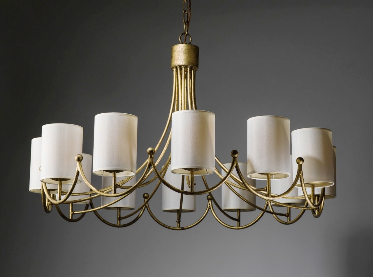 Royere Inspired Wrought Iron 12 Light Chandelier In Distressed Regarding Cream Gold Chandelier (Image 10 of 15)
