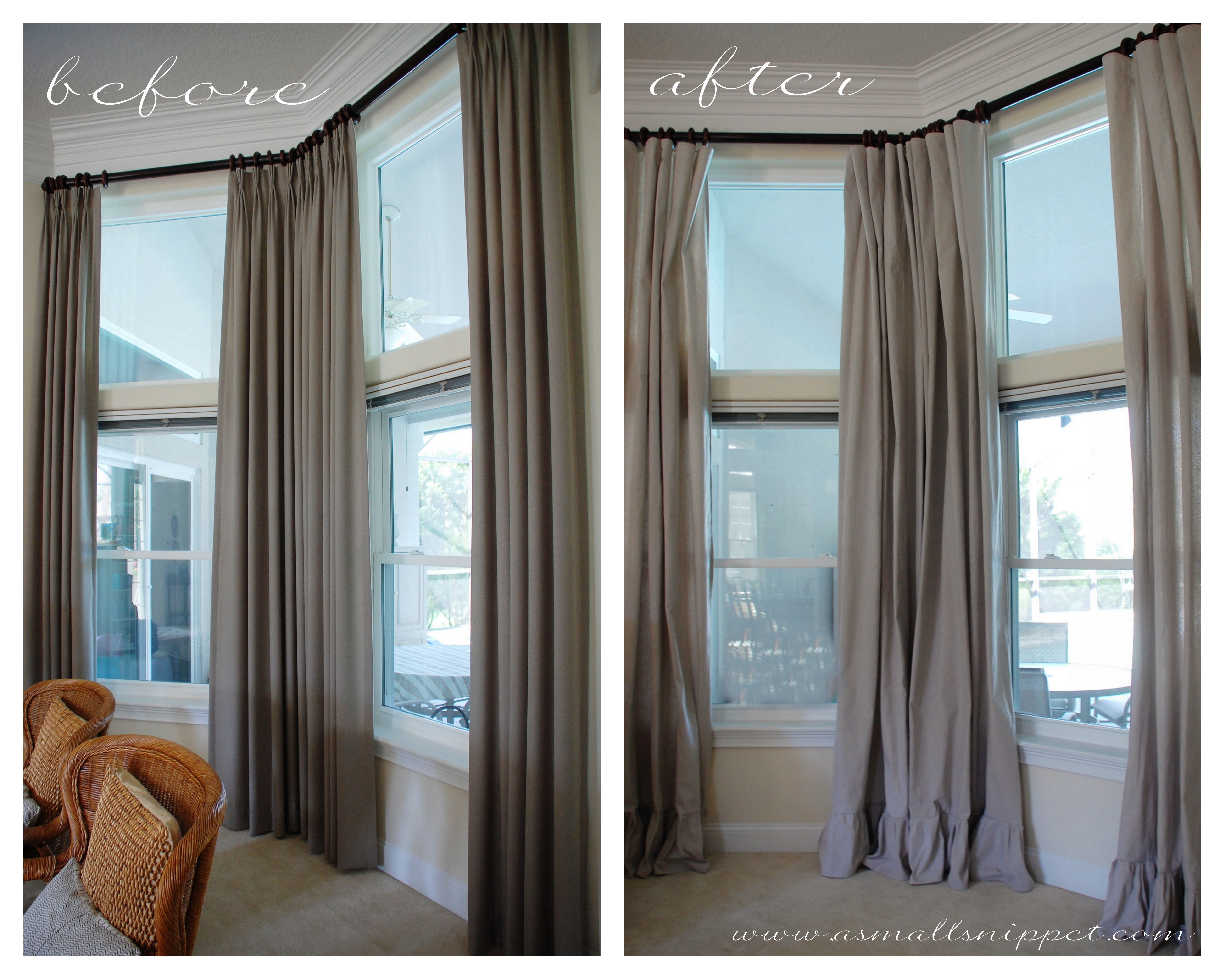 Ruffled Drop Cloth Curtains A Small Snippet For Long Drop Curtains (Image 13 of 15)