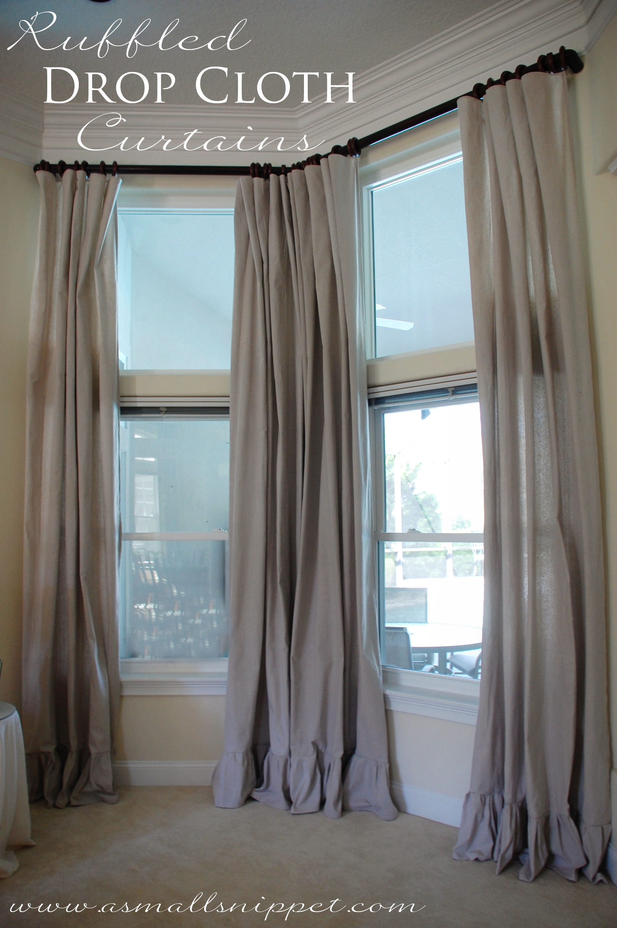 Ruffled Drop Cloth Curtains A Small Snippet With Regard To 8 Ft Image