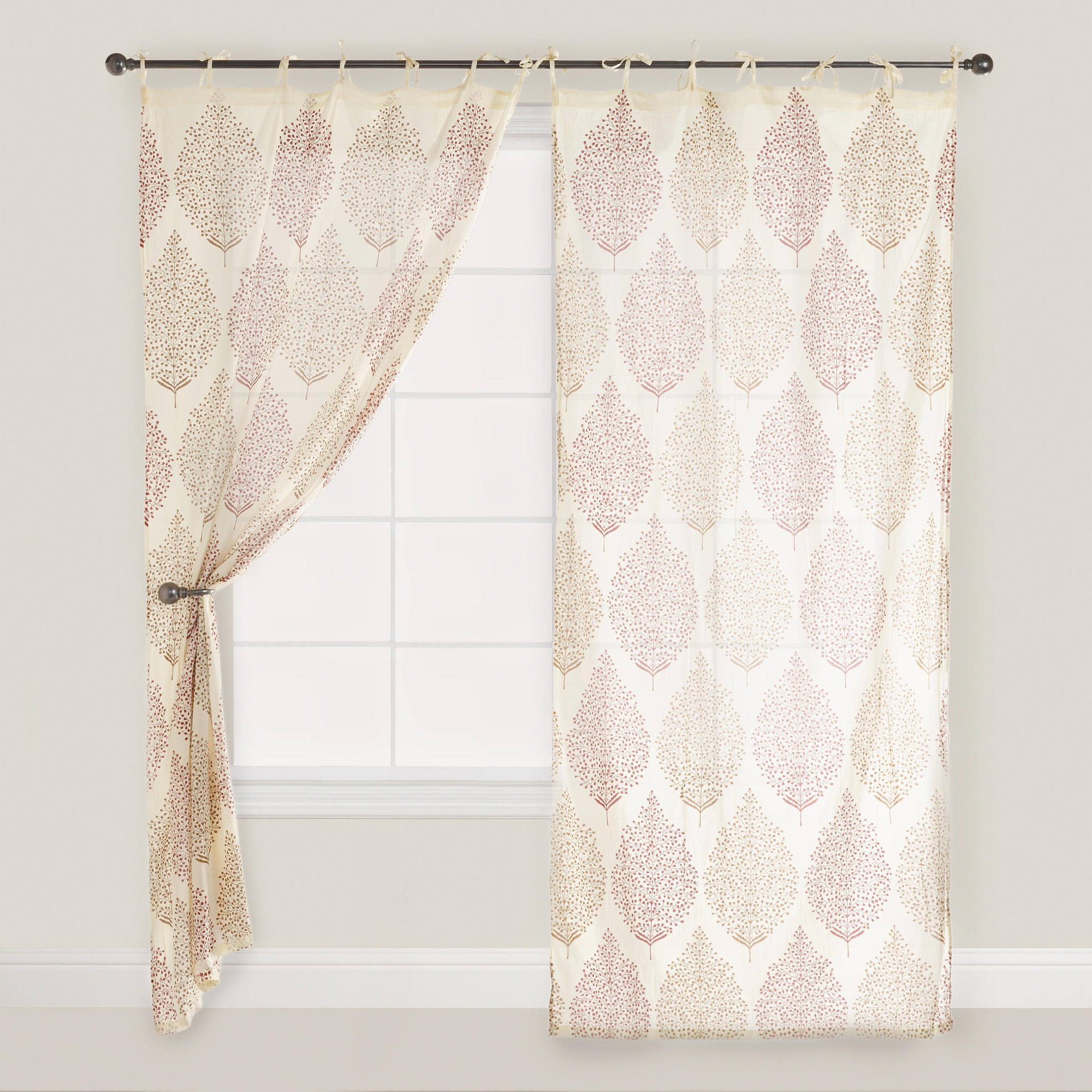 Rust Kashvi Patterned Crinkle Voile Curtain Voile Curtains With Moroccan Pattern Curtains (Image 14 of 15)