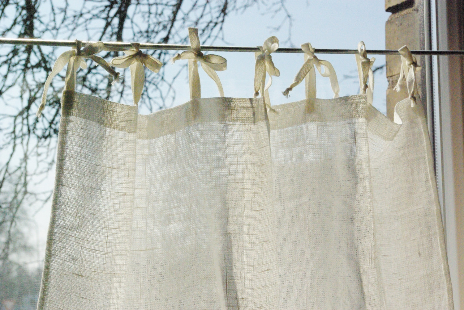 Rustic Curtains Etsy Intended For Natural Fiber Curtains (Image 13 of 15)