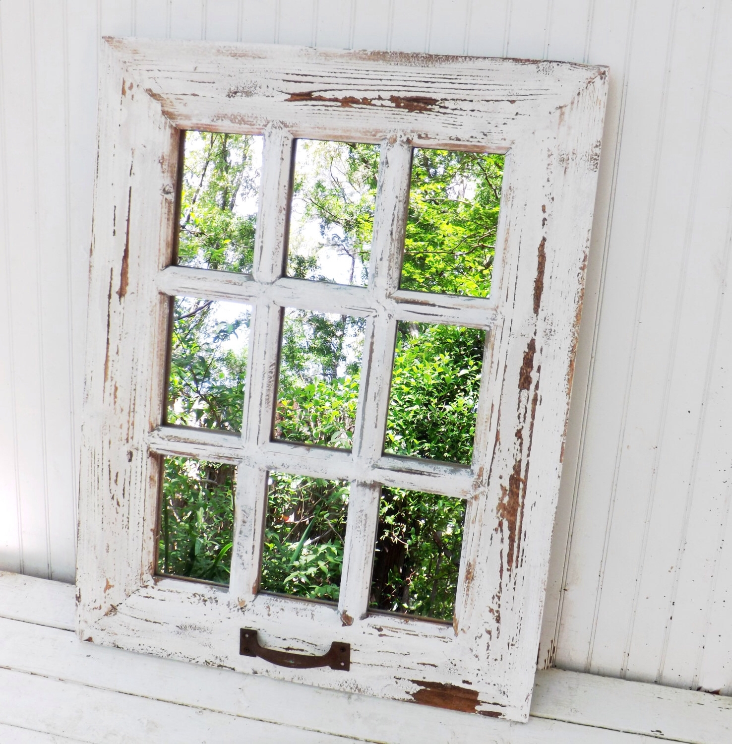 Rustic Farmhouse Window Mirror Window Pane Mirror Shab Chic With Shabby Chic Window Mirror (Image 8 of 15)