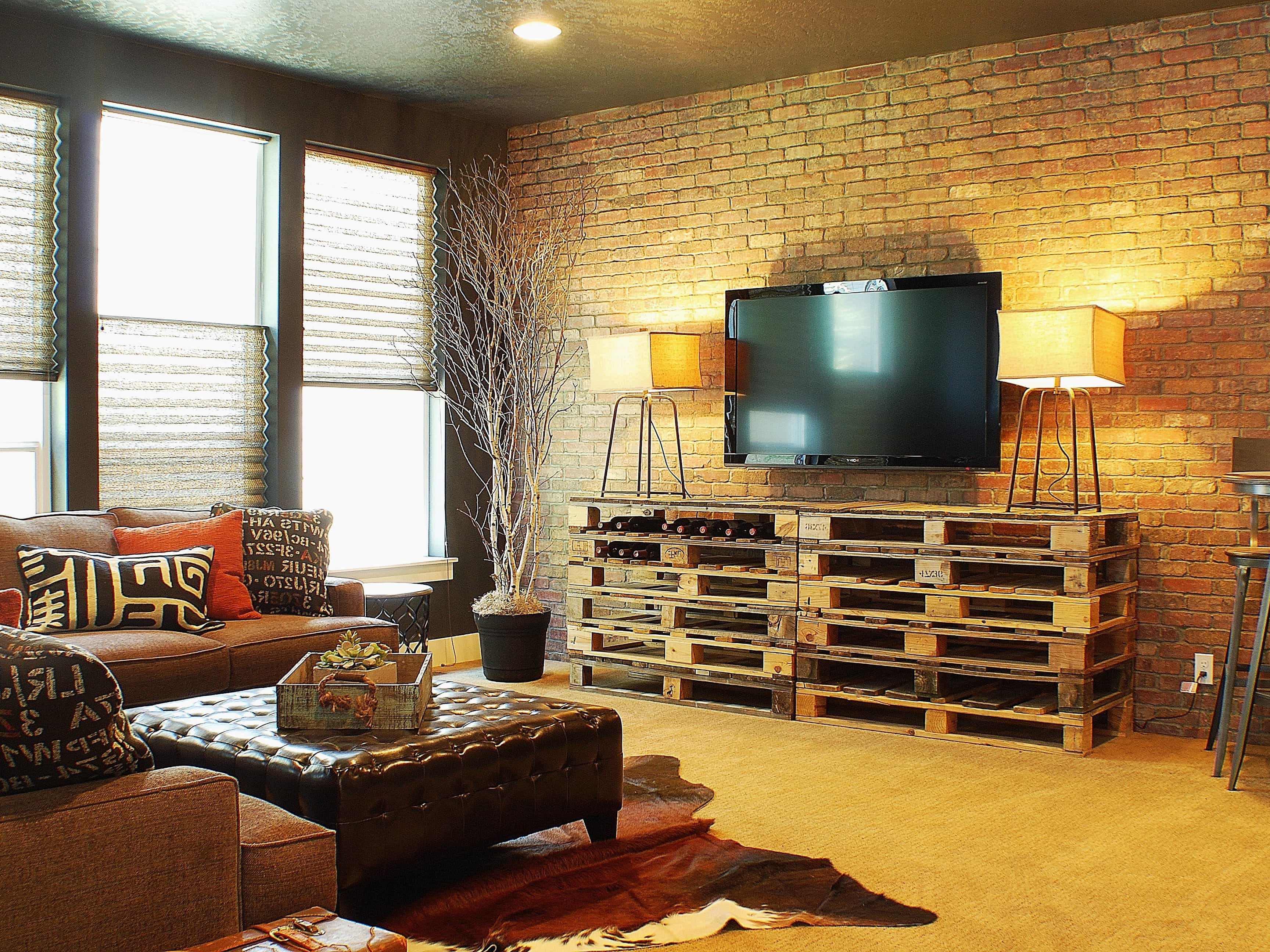 Rustic Living Room With Custom Pallet Table And Brick Wall (Image 23 of 30)