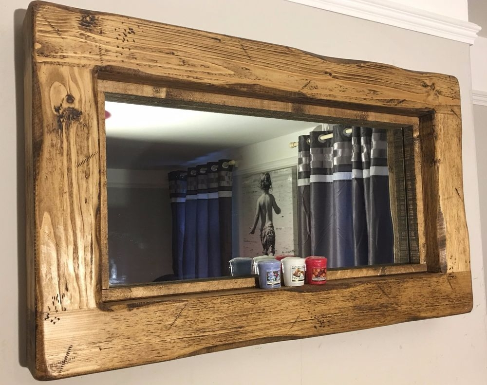 Rustic Oak Mirror Ebay Within Rustic Oak Mirror (Image 13 of 15)