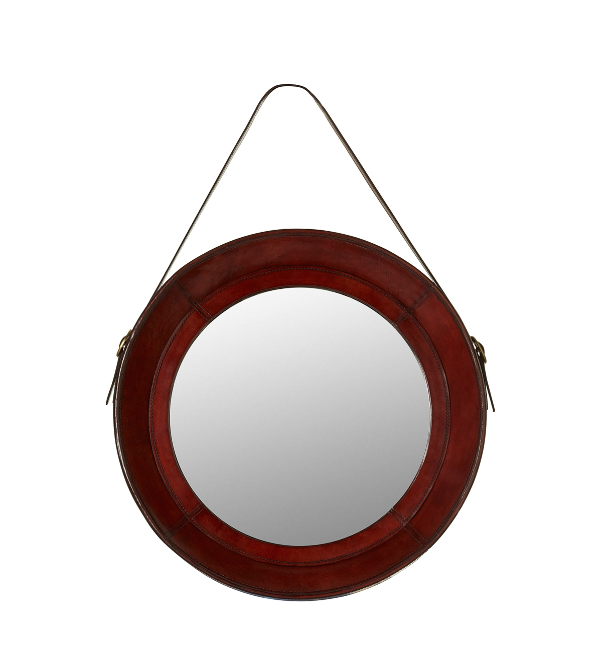 Saddle Leather Round Mirror Oka With Regard To Leather Mirror (View 6 of 15)