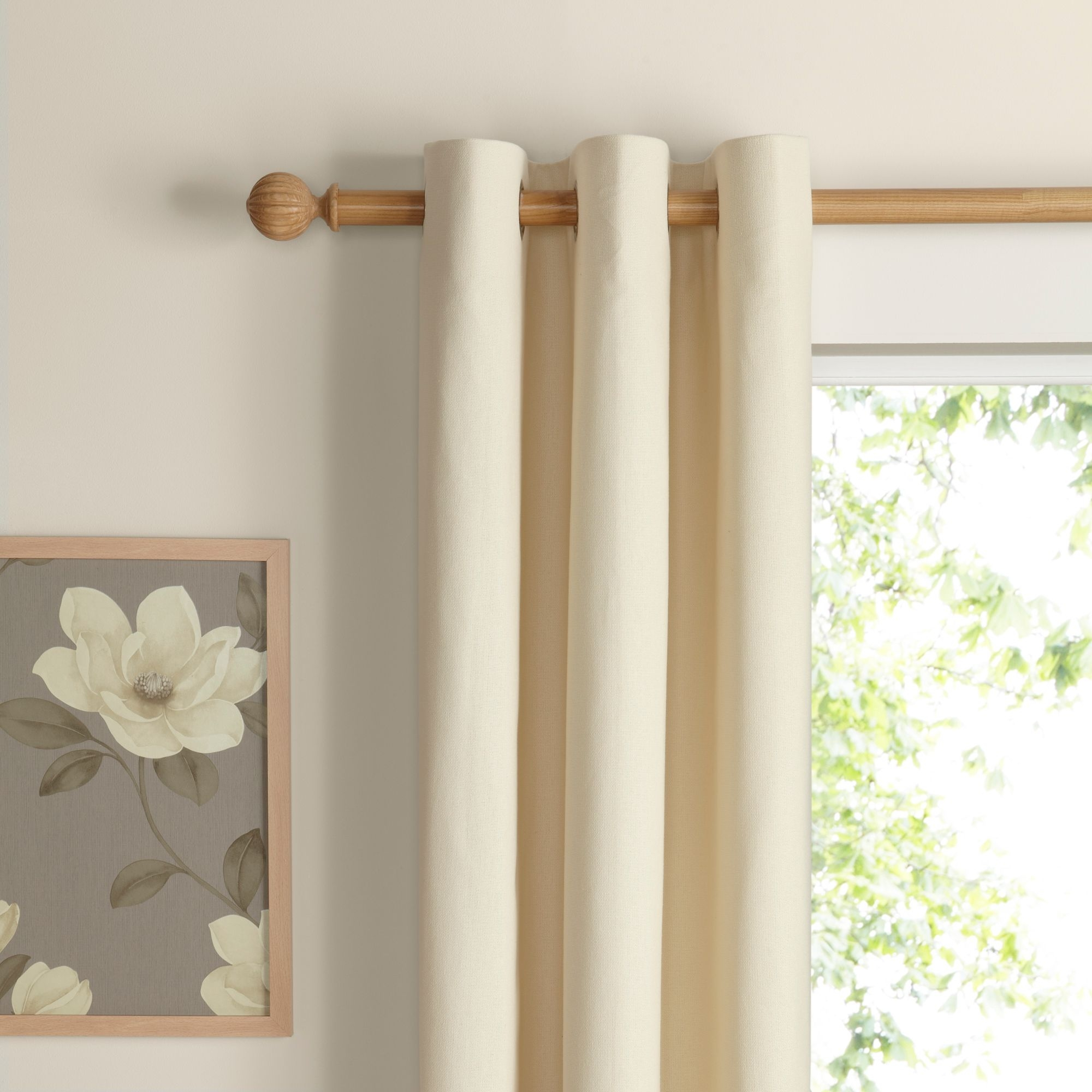 Salla Ecru Plain Woven Eyelet Lined Curtains W167cm L228cm X Regarding Lined Cotton Curtains (Image 15 of 15)