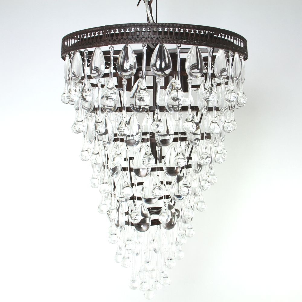 Savona Glass Droplet Chandelier Luxe Within Glass Droplet Chandelier (Image 14 of 15)