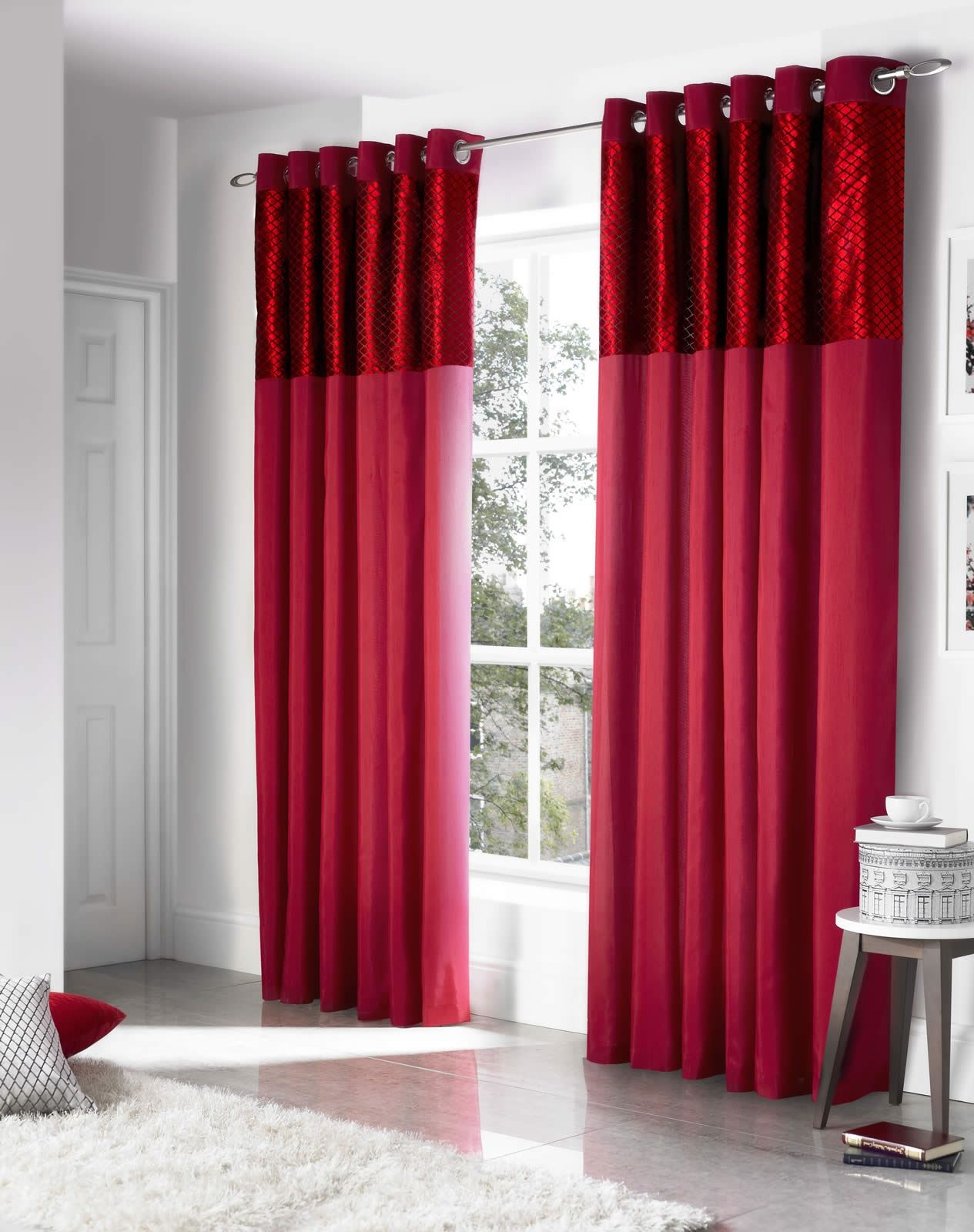 Savoy Faux Silk Velvet Heading Lined Eyelet Curtains Ready Made Inside Silk Ready Made Curtains (Image 12 of 15)