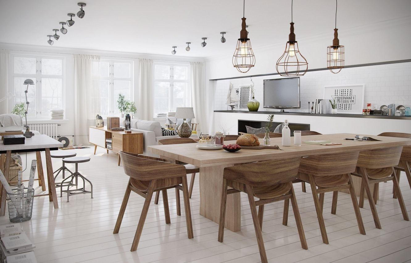 Scandinavian Dining Room Ideas Unpolished Teak Wood Extendable Within Scandinavian Chandeliers (Image 13 of 15)