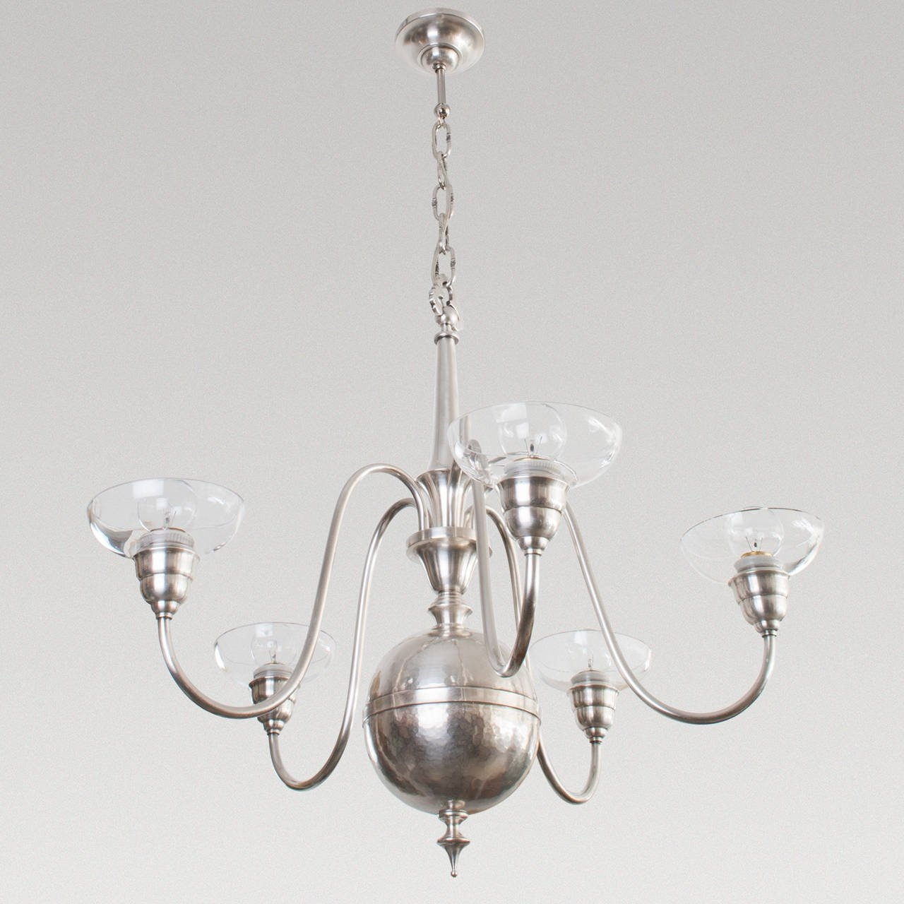 Scandinavian Modern Silver Plated Five Arm Chandelier From Studio Inside Modern Silver Chandelier (Image 13 of 15)
