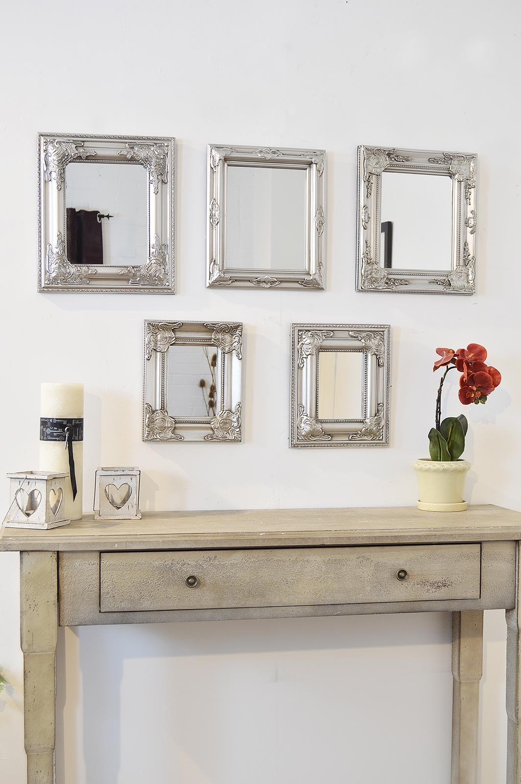 Scatter Set Of 5 Silver Wall Mirrors Stunning Antique Style Intended For Antique Style Mirrors Wall (Image 12 of 15)